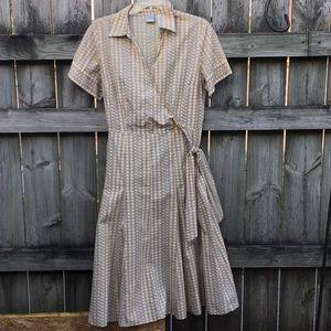 Emma James Tan wrap dress with yellow dots. Sz 14